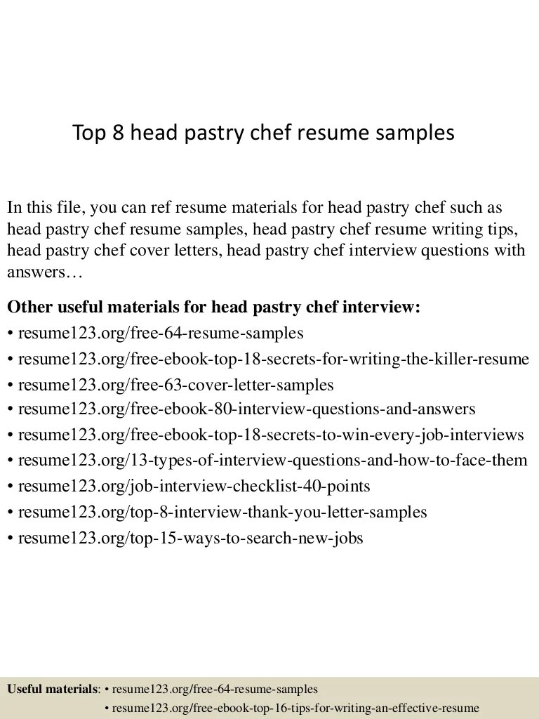 Chef Consultant Cover Letter Top 8 Head Pastry Chef Resume Samples