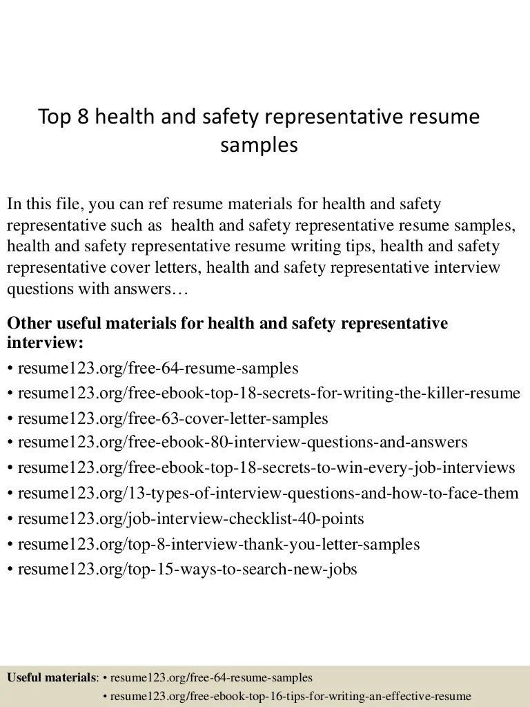 Top 8 Health And Safety Representative Resume Samples
