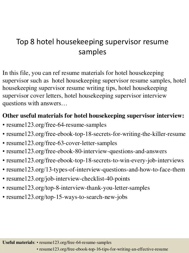Housekeeping Supervisor Resume Top 8 Hotel Housekeeping Supervisor Resume Samples