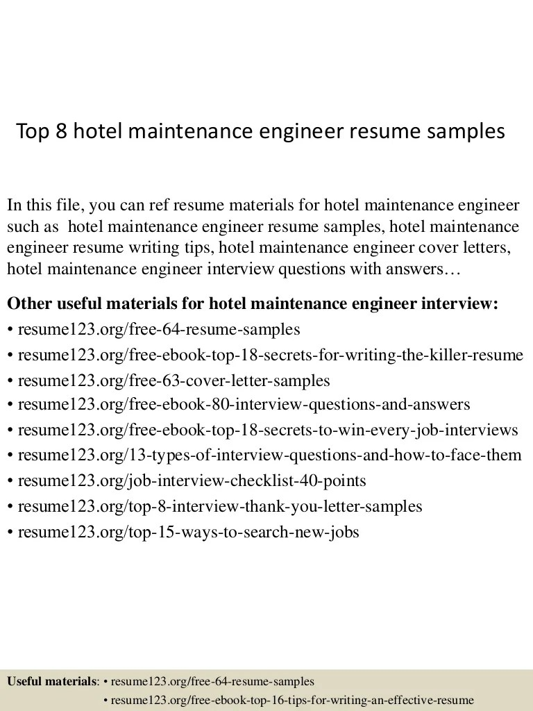 Top 8 Hotel Maintenance Engineer Resume Samples