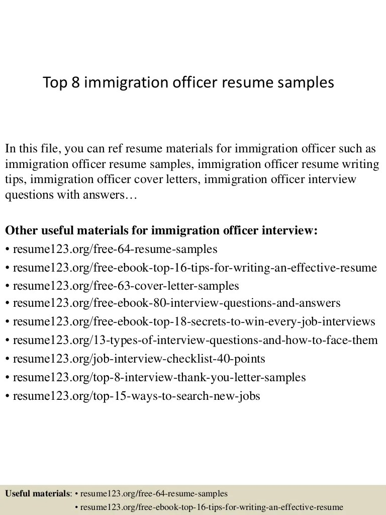 Immigration Officer Resume Top 8 Immigration Officer Resume Samples