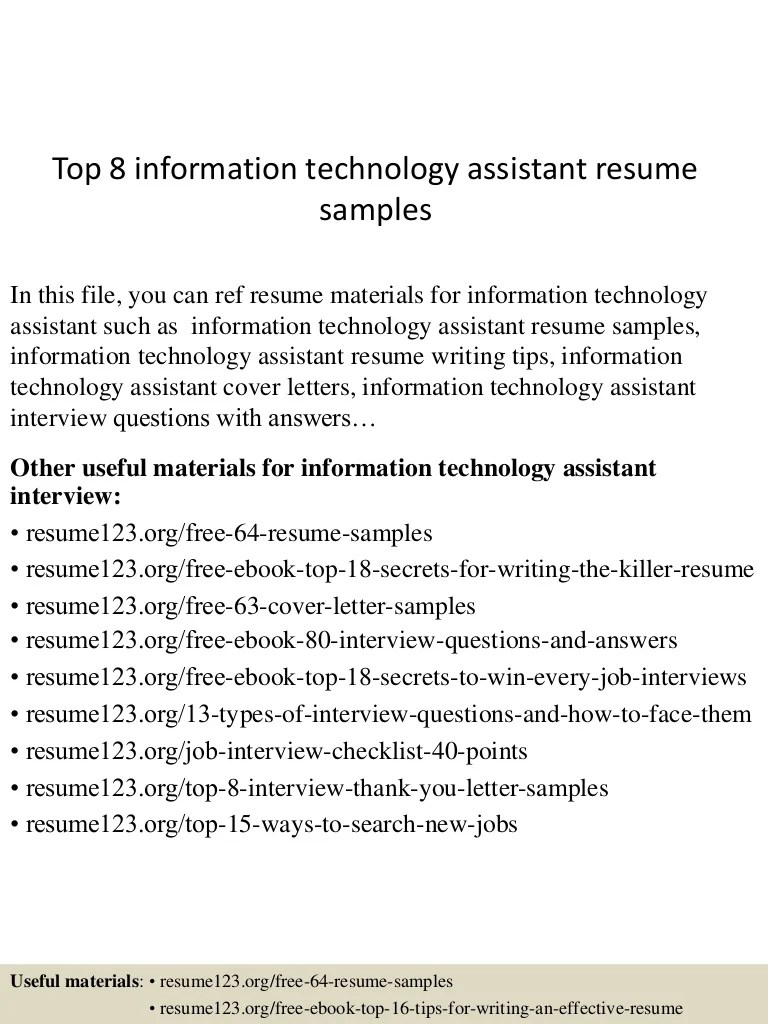 Information Technology Assistant Cover Letter Top 8 Information Technology Assistant Resume Samples