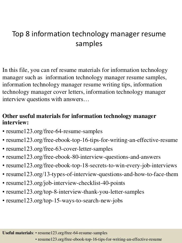 Resume Examples For Information Technology Examples Of Resumes