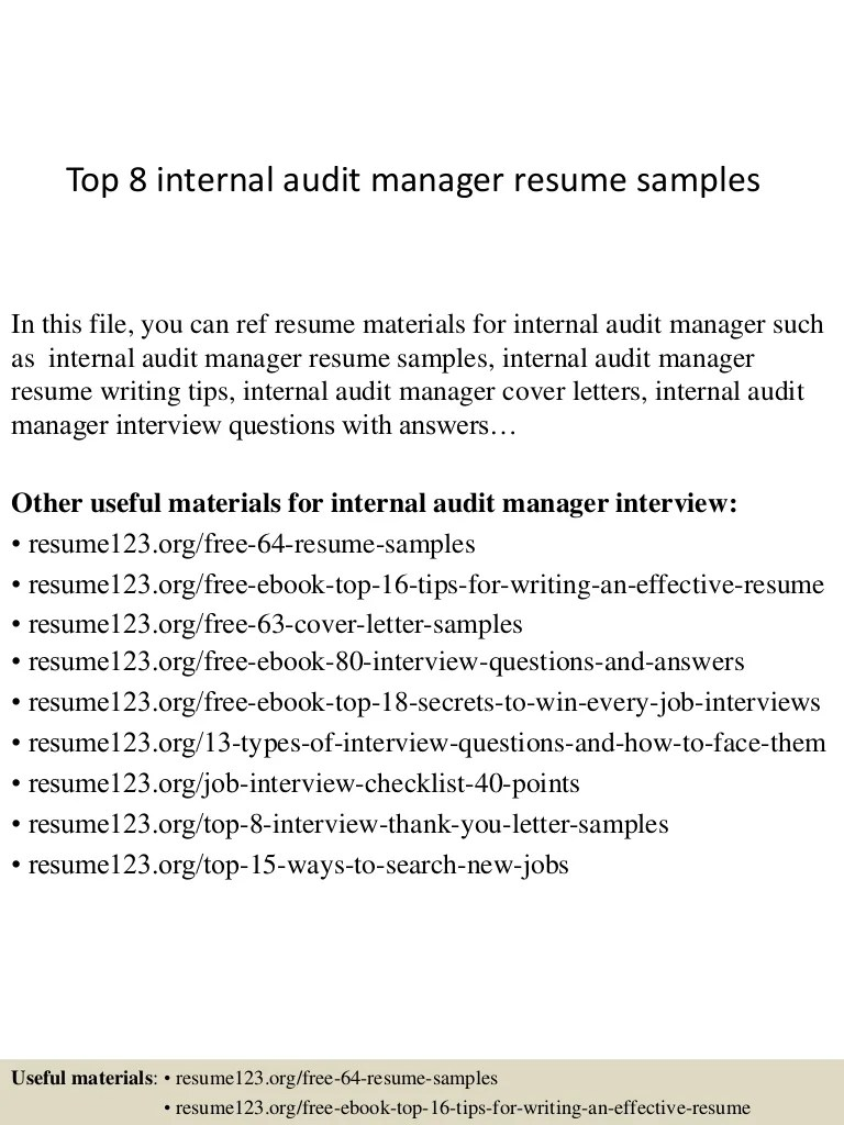 Audit Manager Resume Top 8 Internal Audit Manager Resume Samples