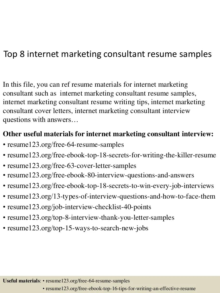 Internet Marketing Consultant Cover Letter Top 8 Internet Marketing Consultant Resume Samples