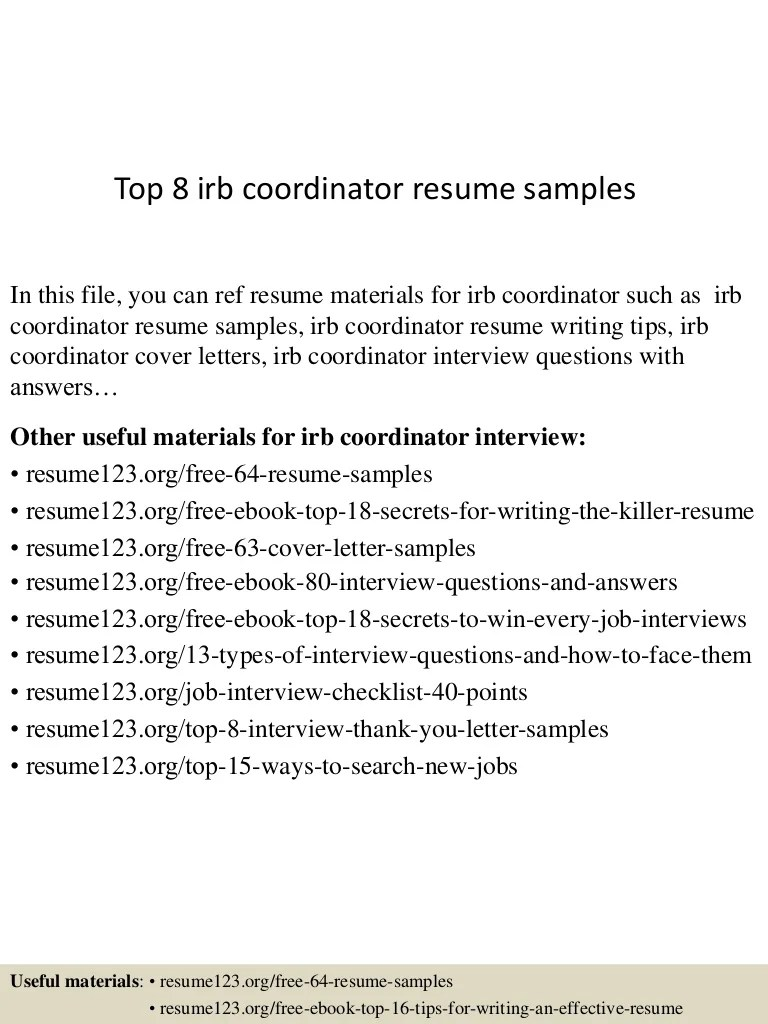Irb Administrator Cover Letter Top 8 Irb Coordinator Resume Samples