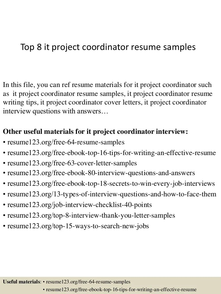 Project Coordinator Cover Letter Top 8 It Project Coordinator Resume Samples