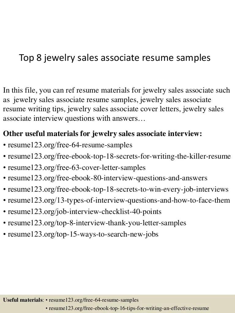 Jewelry Sales Resume Examples