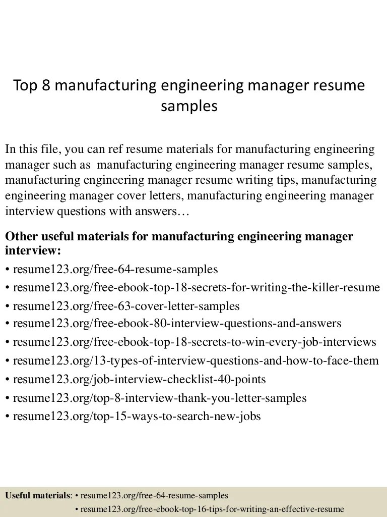 Resume Manufacturing Top 8 Manufacturing Engineering Manager Resume Samples
