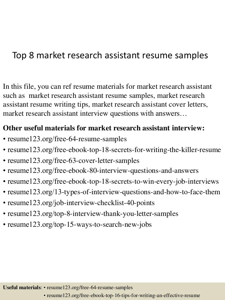 Marketing Research Assistant Cover Letter Top 8 Market Research Assistant Resume Samples