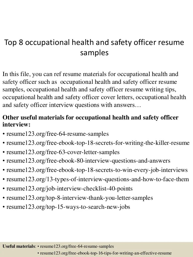 Hse Coordinator Cover Letter Top 8 Occupational Health And Safety Officer Resume Samples