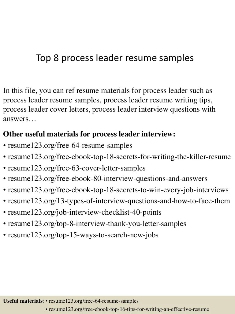 Process Leader Cover Letter Top 8 Process Leader Resume Samples