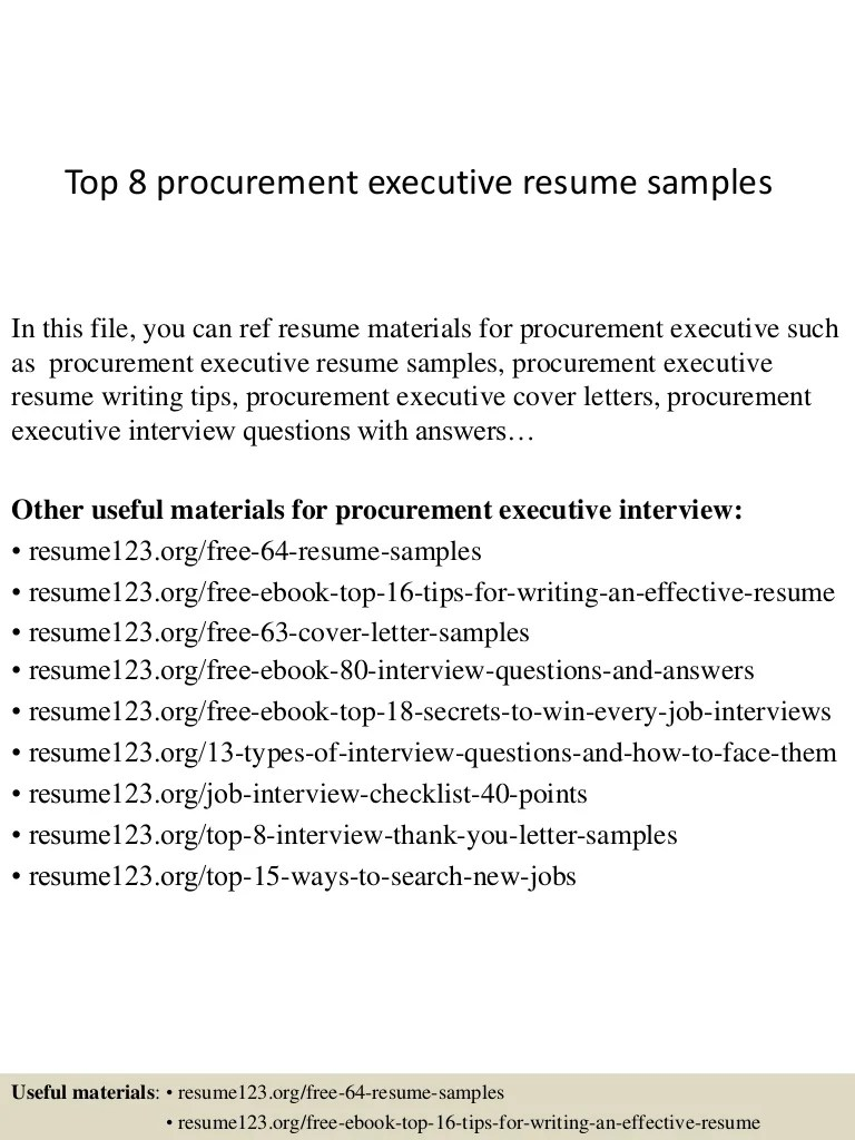 Procurement Analyst Cover Letter Top 8 Procurement Executive Resume Samples