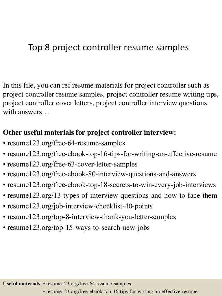 Network Controller Cover Letter Top 8 Project Controller Resume Samples