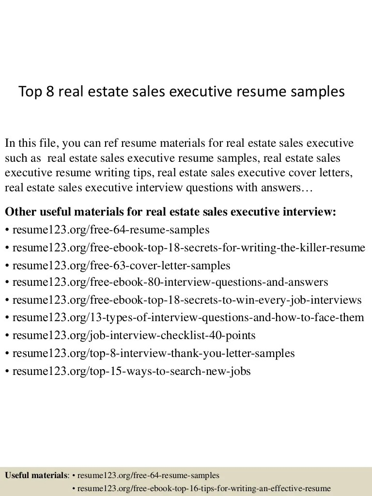 Real Estate Sales Resume Top 8 Real Estate Sales Executive Resume Samples