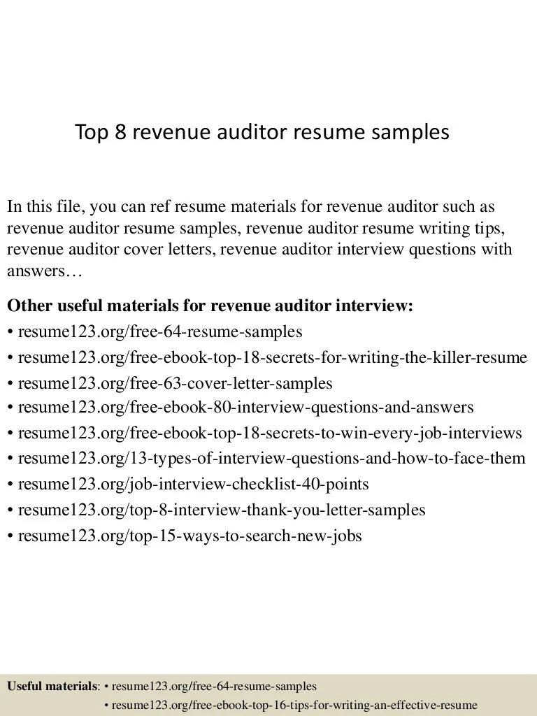 Revenue Auditor Cover Letter Top 8 Revenue Auditor Resume Samples