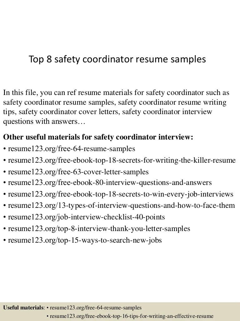 Hse Coordinator Cover Letter Top 8 Safety Coordinator Resume Samples