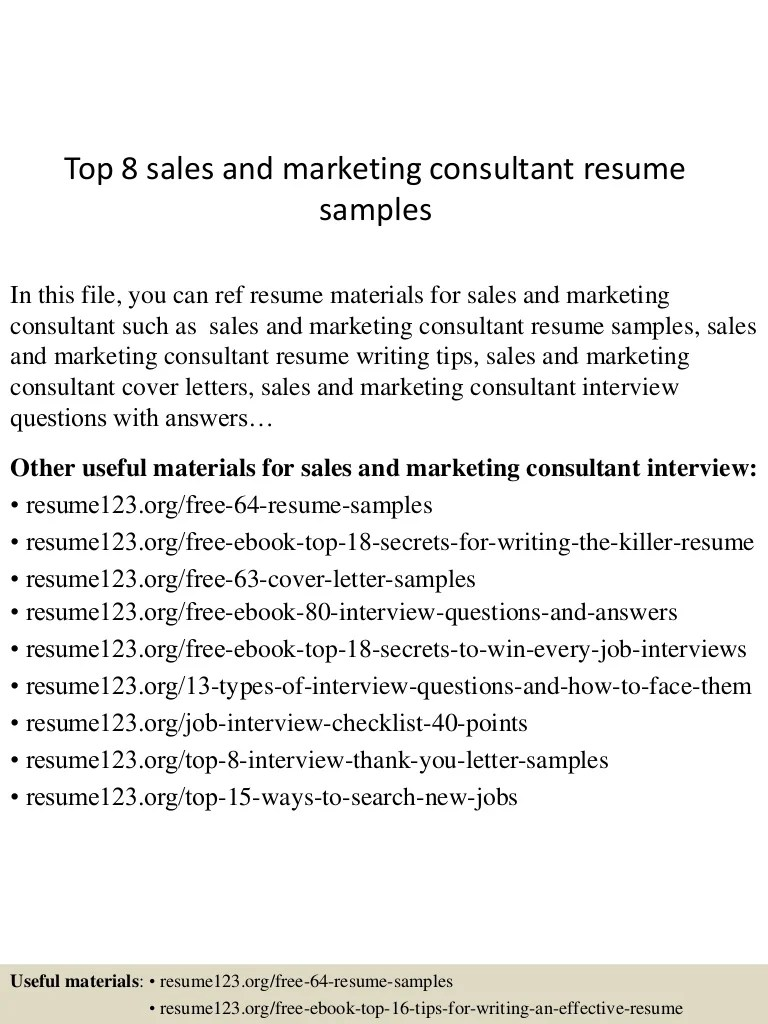 Sales Consultant Resume Top 8 Sales And Marketing Consultant Resume Samples
