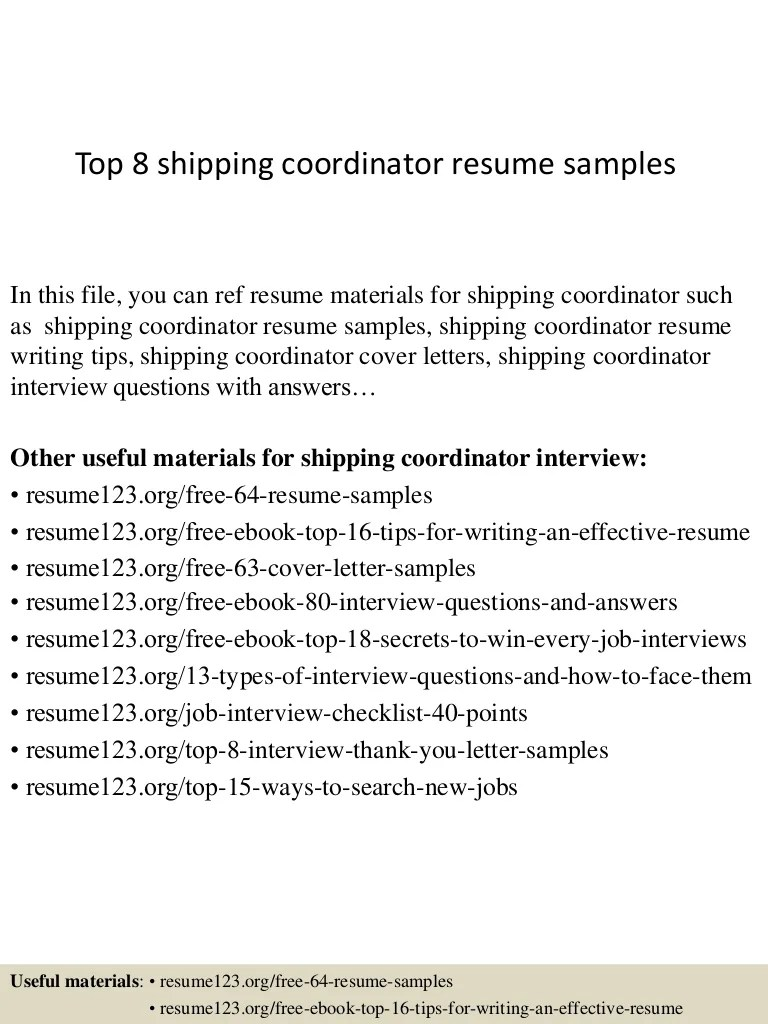 Shipping Coordinator Resume Sample Top 8 Shipping Coordinator Resume Samples