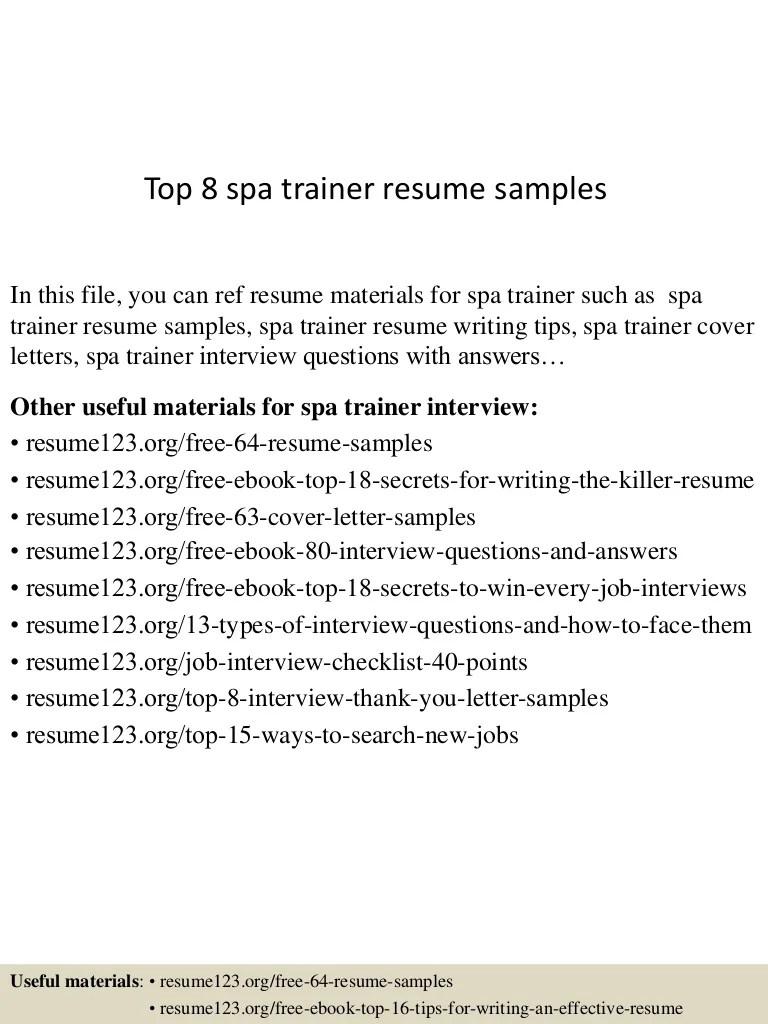 Trainer Resume Sample