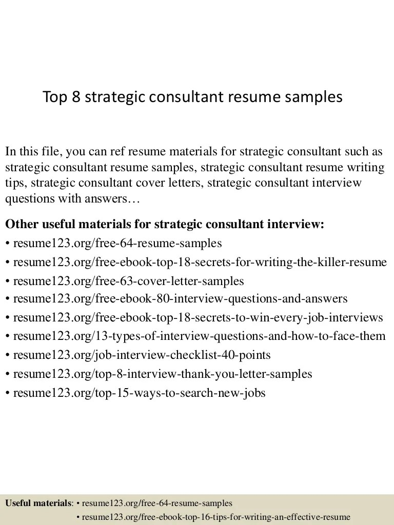 Strategic Consultant Cover Letter Top 8 Strategic Consultant Resume Samples