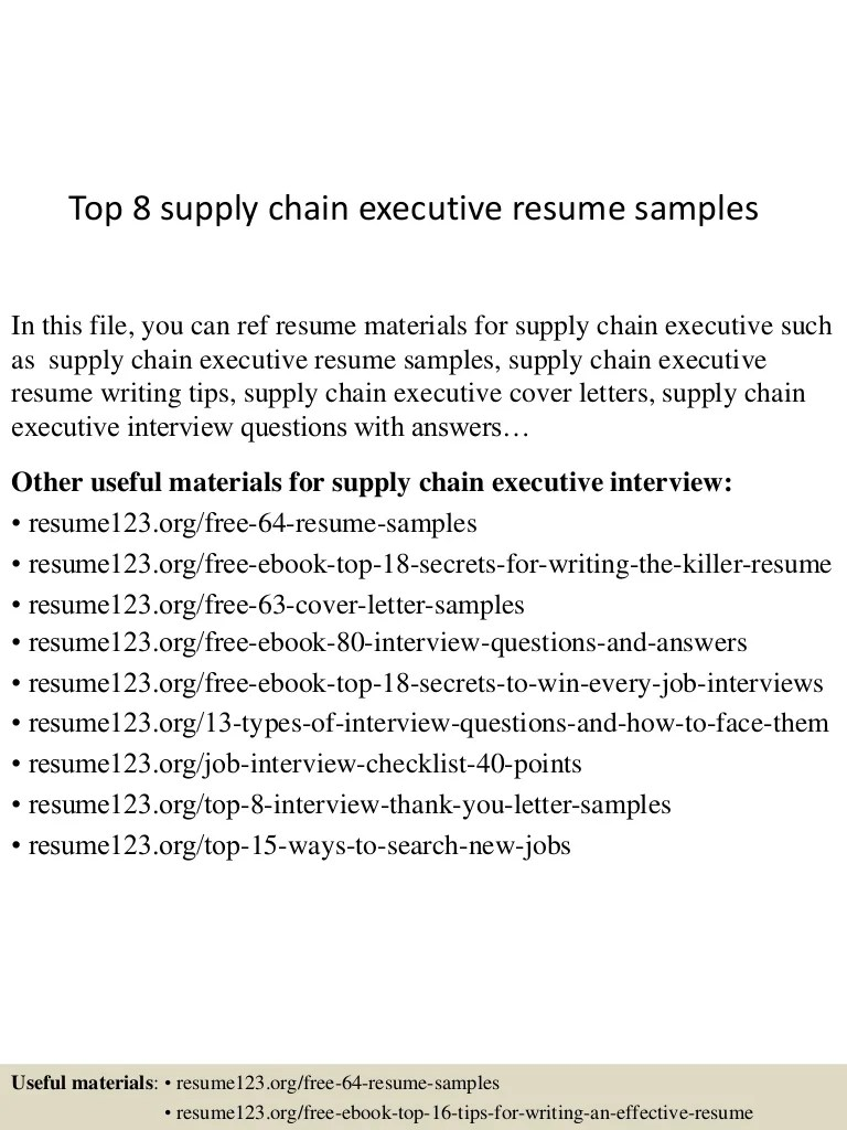 Supply Chain Executive Resume Format Top 8 Supply Chain Executive Resume Samples