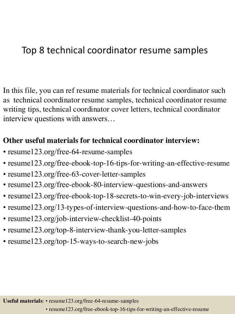 Technical Resume Tips Top 8 Technical Coordinator Resume Samples