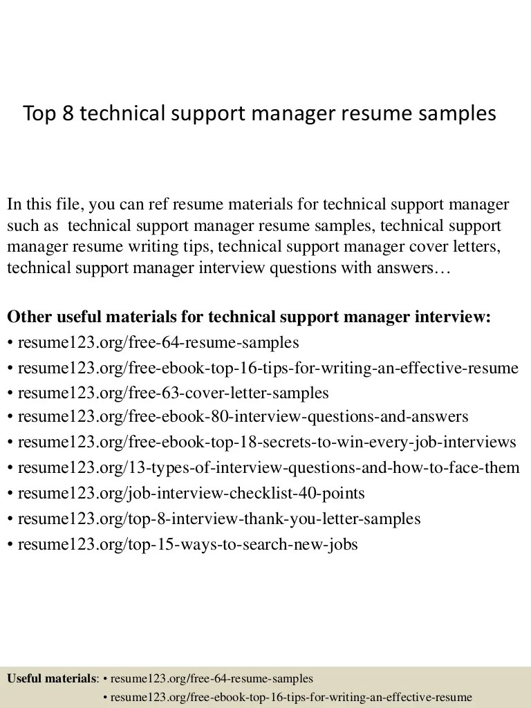 Technical Resume Tips Top 8 Technical Support Manager Resume Samples