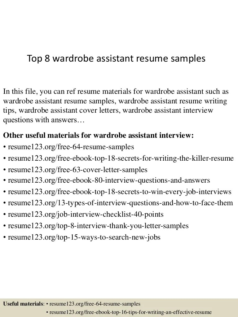 Wardrobe Assistant Cover Letter Top 8 Wardrobe Assistant Resume Samples
