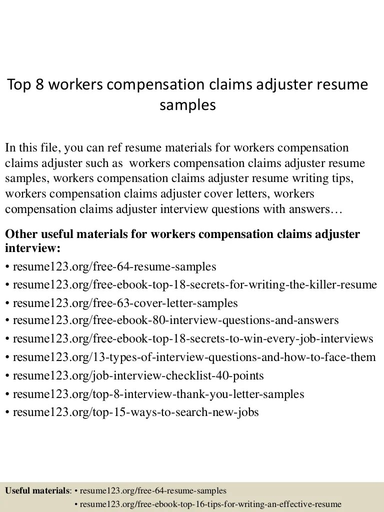 Staff Adjuster Cover Letter Top 8 Workers Compensation Claims Adjuster Resume Samples