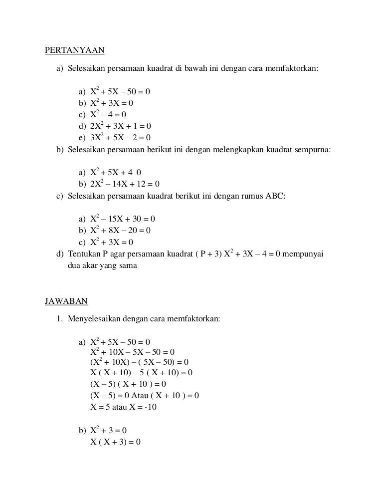Contoh Soal Persamaan Kuadrat Dan Penyelesaiannya : contoh, persamaan, kuadrat, penyelesaiannya, Contoh, Persamaan, Kuadrat, Penyelesaiannya, Menggunakan, Rumus, Terbaru