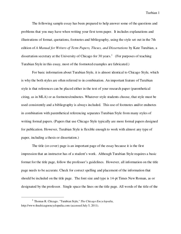 Turabian Example Paper With Footnotes Sample Paper Austin Peay Stat