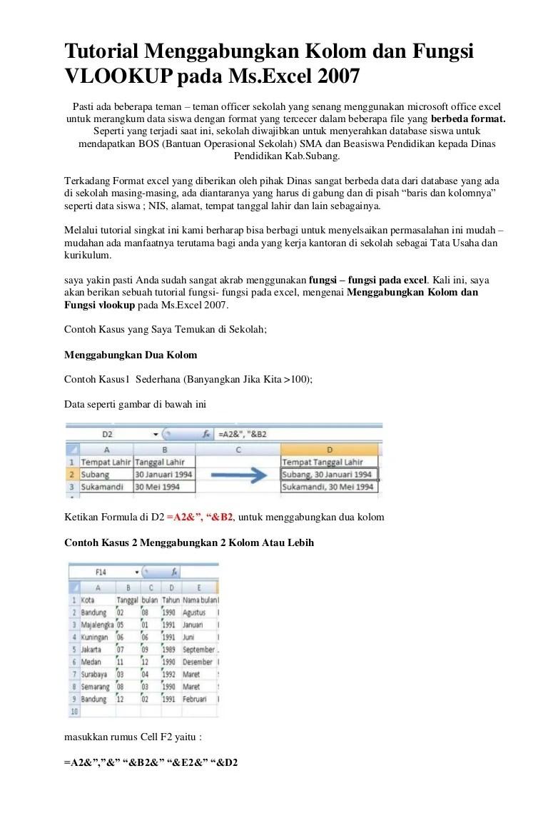 Menggabungkan Kolom Di Excel : menggabungkan, kolom, excel, Tutorial, Menggabungkan, Kolom, Fungsi, Vlookup