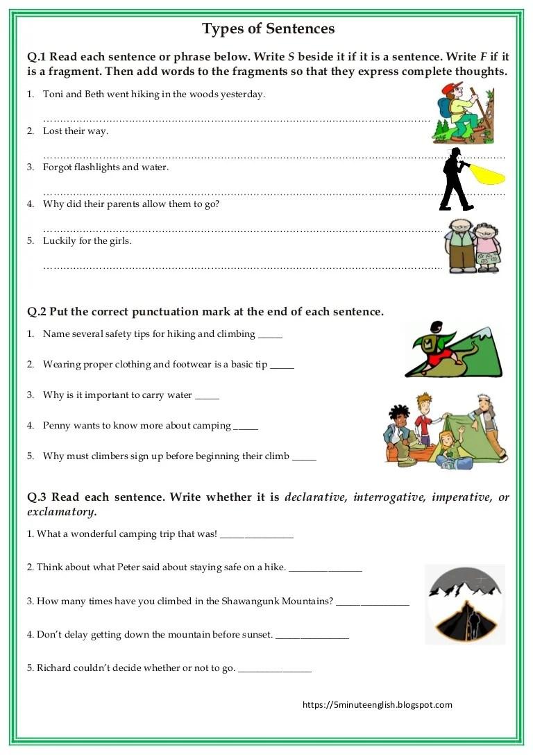 Types of Sentences Worksheet [ 1087 x 768 Pixel ]