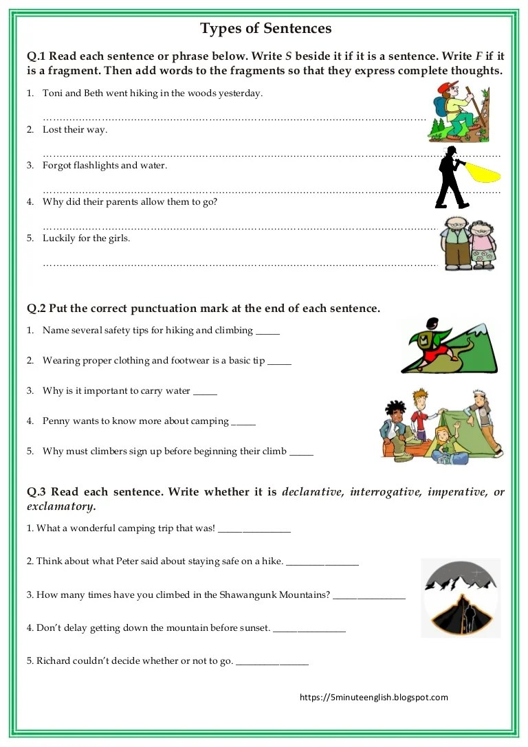 small resolution of Types of Sentences Worksheet