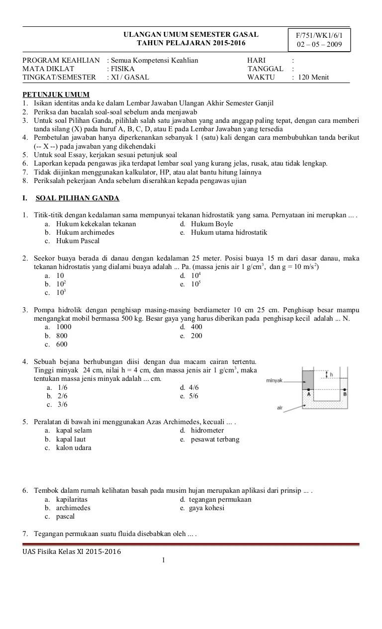 Soal Fisika Kelas 11 Semester 1 Kurikulum 2013 : fisika, kelas, semester, kurikulum, FIsika, Kelas, SMA/SMK, Semester, Gasal, 2015/2016