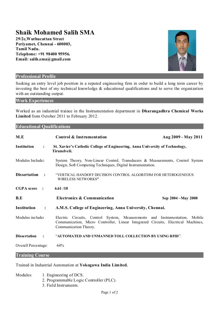 Fresher Of Instrumentation Engineer
