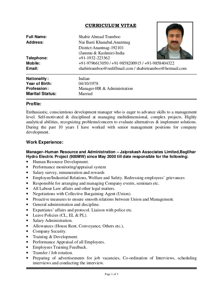 samples of a curriculum vitae resume