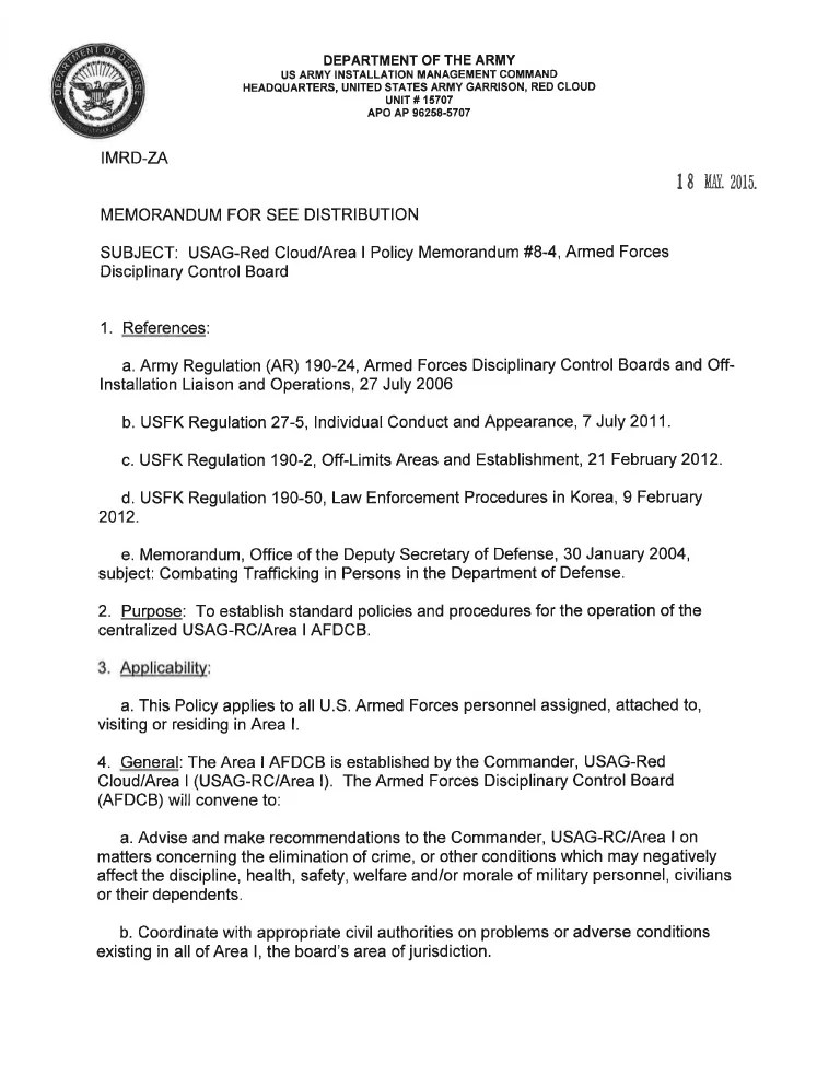 USAG RC Command Policy Memorandum #8 4 Armed Forces