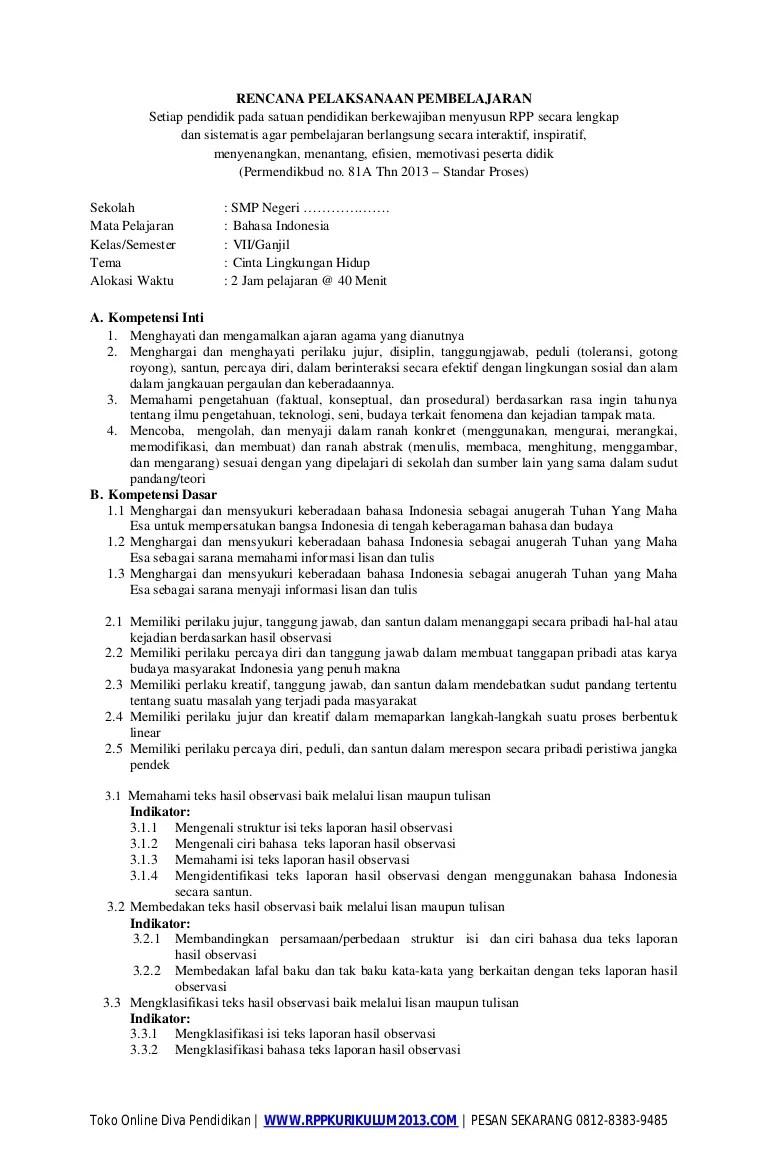 Rpp Bahasa Indonesia Smp Kurikulum 2013 : bahasa, indonesia, kurikulum, Bahasa, Indonesia, Kurikulum
