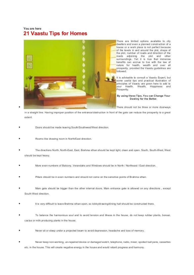 Vasthu  21 Vaastu Tips for Homes  19p