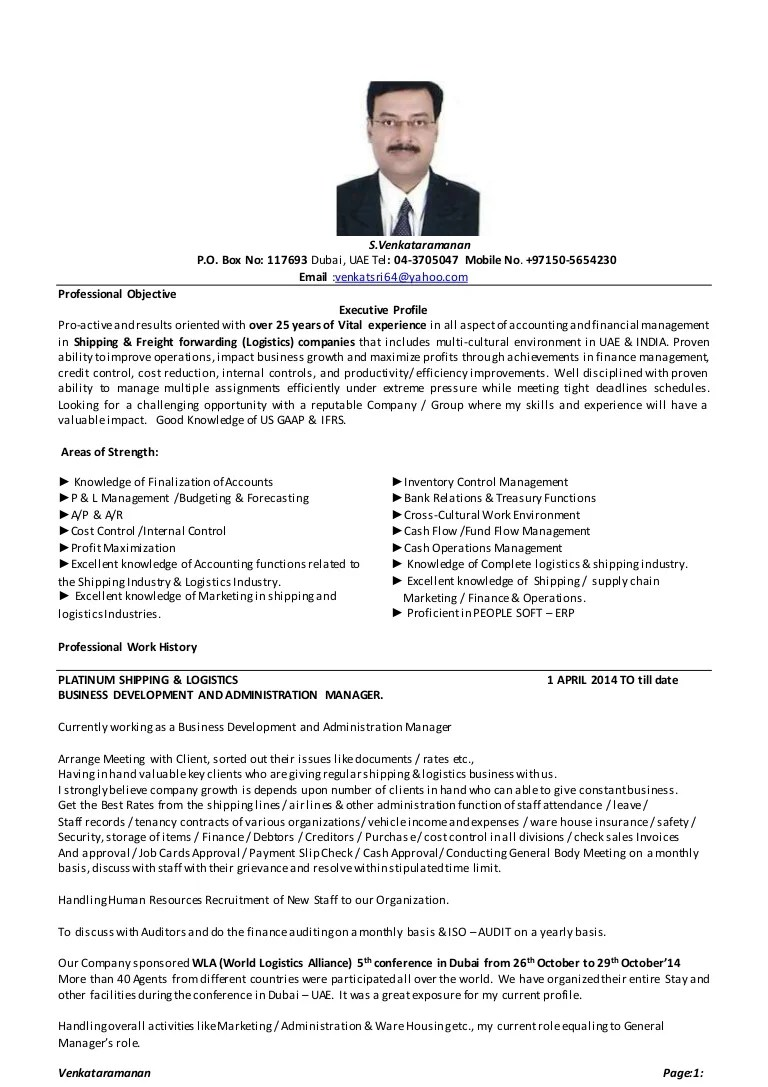 Resume For Freight Forwarding Company Venkat Resume Venk