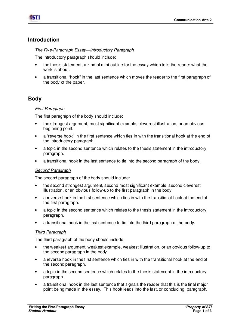 Comart2 Writing The Five Paragraph Essay