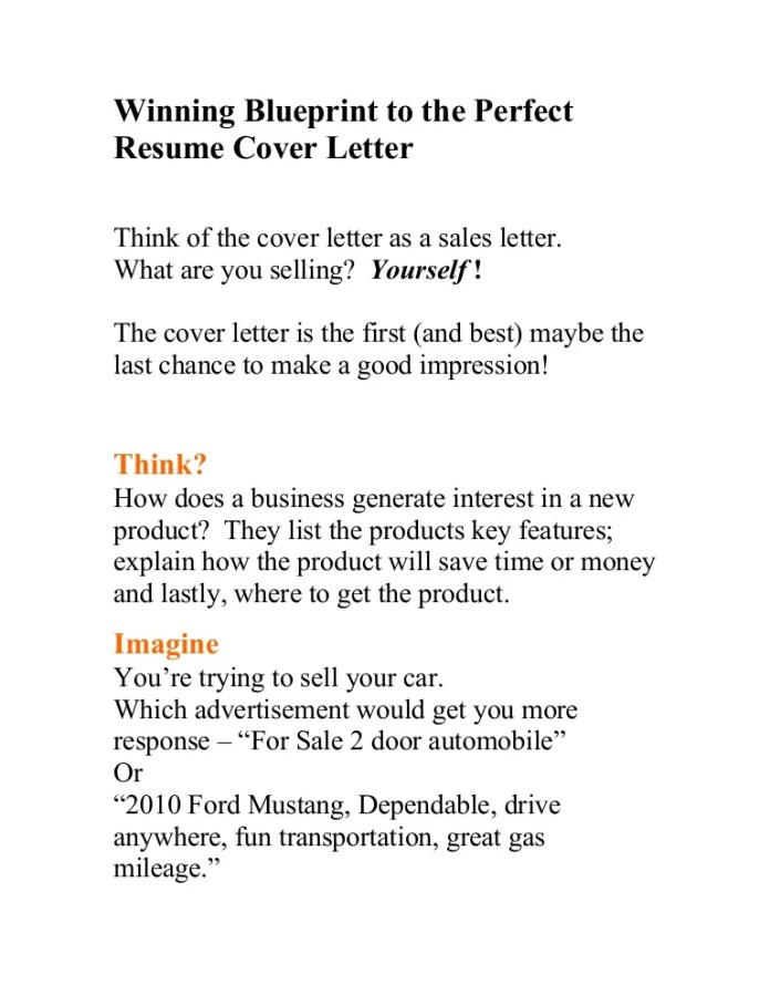 Winning Blueprint To The Perfect Resume Cover Letter