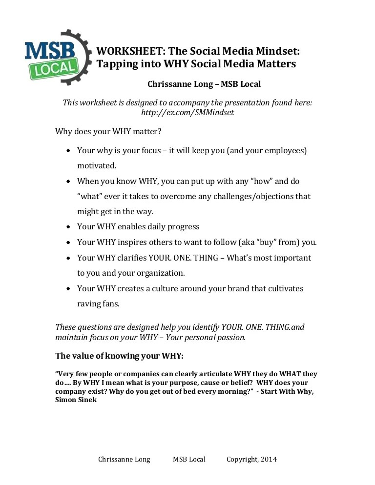 Start With Why Worksheet : start, worksheet, Worksheet:, Social, Media, Mindset, Tapping, Matters