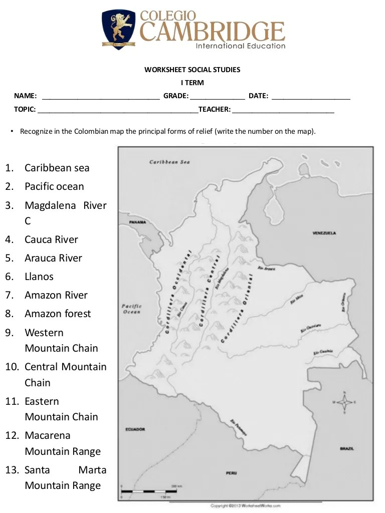 hight resolution of Worksheet 5 landforms in colombia