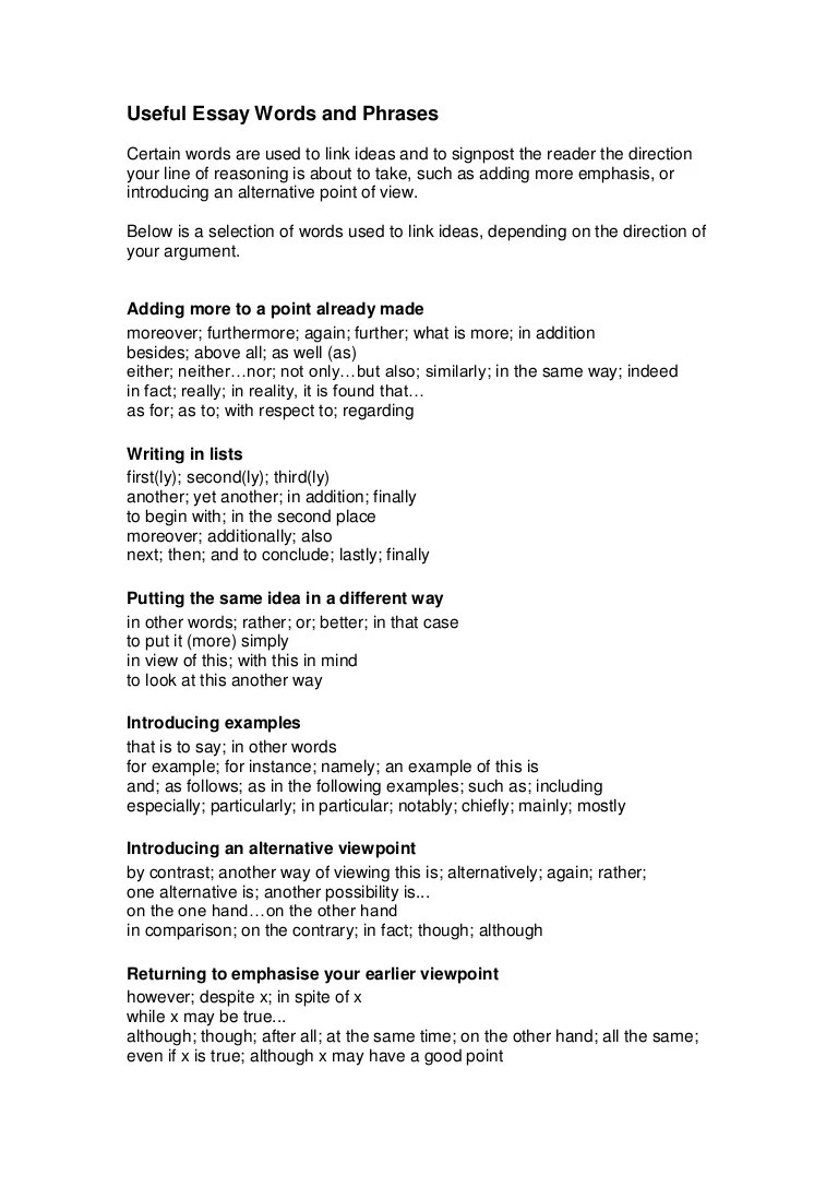 phrases to use in essays