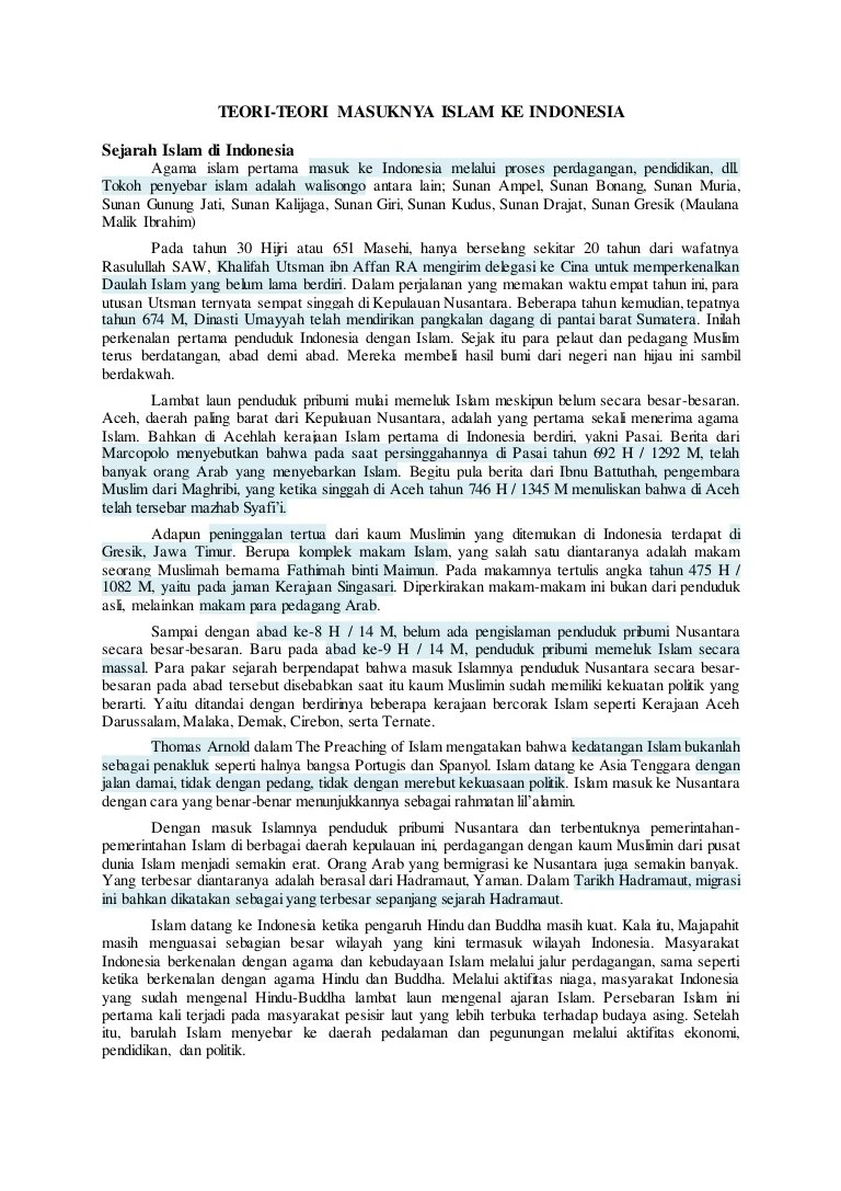 4 Teori Masuknya Islam Ke Indonesia : teori, masuknya, islam, indonesia, Penjelasan, Teori, Masuknya, Islam, Indonesia, (Ms.Word)