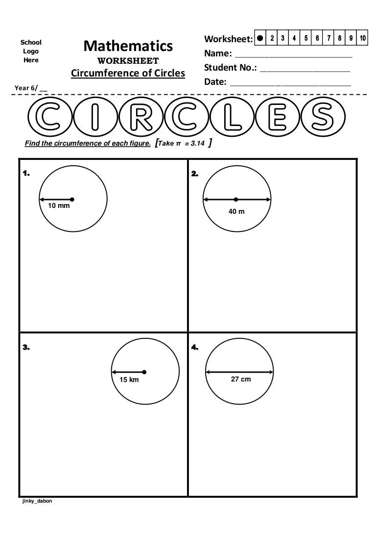 Year 6 – Circumference of Circles (Worksheet) [ 1087 x 768 Pixel ]