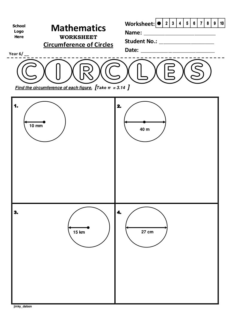 hight resolution of Year 6 – Circumference of Circles (Worksheet)